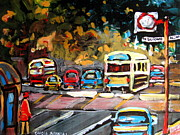 Crosswalk Painting Posters - Autumn On The Boulevard Poster by Carole Spandau