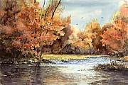 Trees Paintings - Autumn On The Buffalo by Sam Sidders