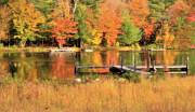 New York Digital Art Metal Prints - Autumn on the Pond Metal Print by Betty LaRue