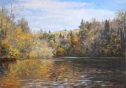 Realism Prints - Autumn. On the River Print by Andrey Soldatenko