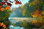 Indiana Scenes Prints - Autumn on the White River I Print by Julie Dant