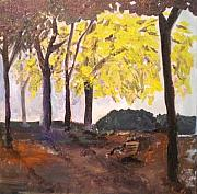 Park Landscape Mixed Media Originals - Autumn Park by Maria Rosaria DAlessio