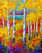 Aspen Trees Paintings - Autumn Patchwork by Marion Rose