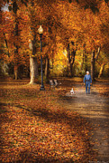 Dog Walking Metal Prints - Autumn - People - A walk in the park Metal Print by Mike Savad