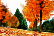 Fractalius Mixed Media Framed Prints - Autumn Perspective Framed Print by Kami McKeon