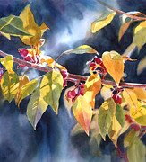 Yellow Leaves Painting Prints - Autumn Plums Print by Sharon Freeman