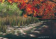 Lilly Pond Painting Framed Prints - Autumn Pond Framed Print by Susan Jenkins