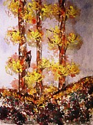 Woodpecker Mixed Media - Autumn Poplars by Shane McInnis