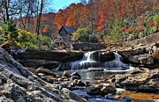 Grist Mill Art - Autumn Postcard by Lanis Rossi