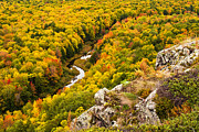 Fall Color Print Framed Prints - Autumn Precipice Framed Print by James Marvin Phelps