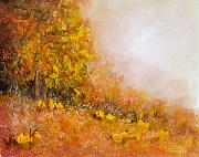Pumpkins Paintings - Autumn Pumpkins by Sally Seago