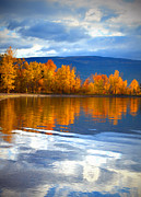 Okanagan Prints - Autumn Reflections at Sunoka Print by Tara Turner