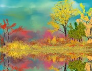 Abstract Expressionism - Autumn Reflections by David Lane