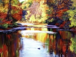 Lakes Paintings - Autumn Reflections by David Lloyd Glover