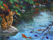 Tortie Paintings - Autumn Reflections by Laura Iverson