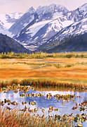 Snow Capped Mountains Prints - Autumn Reflections Print by Sharon Freeman