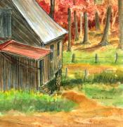 Old Wood Cabin Posters - Autumn Retreat Poster by Barbel Amos