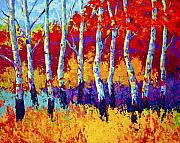 Birch Trees Paintings - Autumn Riches by Marion Rose