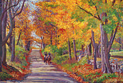 Country Road Painting Posters - Autumn Ride Poster by David Lloyd Glover
