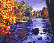 Nature Scene Paintings - Autumn River by David Lloyd Glover