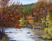 Autumn Foliage Pastels Prints - Autumn River Print by Jack Skinner