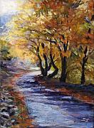 Leaves Pastels Posters - Autumn Road Home Poster by Susan Jenkins