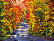 Beautiful Scenery Paintings - Autumn Roads by David Lloyd Glover