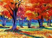 Autumn Trees Painting Posters - Autumn Row Poster by David Lloyd Glover