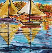 Sails Drawings - Autumn Sailboats by John  Williams
