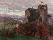 1800s Posters - Autumn Scene With Castle Poster by Everett