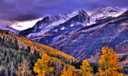 Western Art Photos - Autumn Snow and Purple Skies by Scott Mahon
