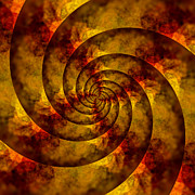 Golden Brown Prints - Autumn Spiral Print by Bonnie Bruno