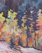 Autumn Trees Painting Posters - Autumn Splendor Poster by Sandy Tracey