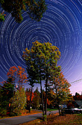 Startrails Prints - Autumn Star Trails in New Hampshire Print by Larry Landolfi