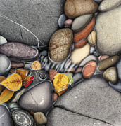 Nature Painting Metal Prints - Autumn Stones Metal Print by JQ Licensing