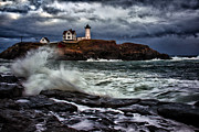 Nubble Lighthouse Prints - Autumn Storm at Cape Neddick Print by Rick Berk