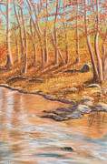 Light Orange Pastels Posters - Autumn Stream Poster by Jan Amiss