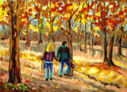 Crowds Paintings - Autumn  Stroll On Mount Royal by Carole Spandau