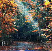 Beam Digital Art - Autumn Sun Beam by Bill Cannon