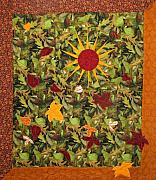 Red Leaves Tapestries - Textiles - Autumn Sun by Maureen Wartski