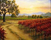 Napa Valley Vineyard Paintings - Autumn Sunset by Patrick ORourke
