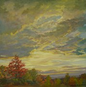 Just Painting Originals - Autumn Sunset by Sharon Jordan Bahosh