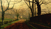 Grimshaw Paintings - Autumn Sunshine Stapleton Parknear Pontefract  by John Atkinson Grimshaw