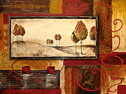 Ocher Painting Framed Prints - Autumn Tapestry Framed Print by Jean Plout