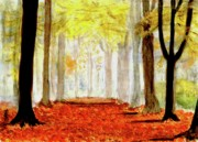 Tree Framed Prints Drawings Prints - Autumn Trail Print by Yoshiko Mishina