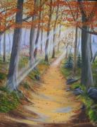Smoky Mountains Paintings - Autumn Tranquility by RJ McNall