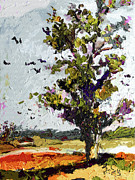 Fall Colors Mixed Media - Autumn Tree Bird Migration Modern Art by Ginette Callaway