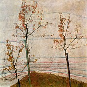 Fallen Leaf Painting Posters - Autumn Trees Poster by Egon Schiele