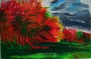 Autumn Landscape Drawings - Autumn Trees by Lorna Ritz