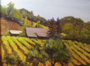 Autumn Vineyards Paintings - Autumn Vineyard by Bonnie Rosen